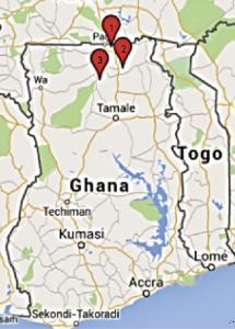 Landkaart Ghana met projecten